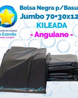 BOLSA NEGRA P/BASURA JUMBO 70+30×120 KILEADA // ANGUIANO