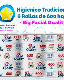 PAPEL HIGIENICO BIG 6 ROLLOS/600 HOJAS // BIG FACIAL QUALITY