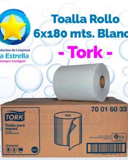 TOALLA ROLLO P/MANOS BLANCA 6×180 MTS. // TORK **CAJA**