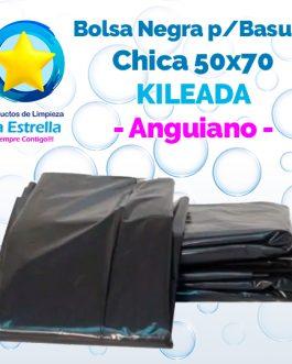 BOLSA NEGRA P/BASURA CHICA CUBETERA 50×70 KILEADA // ANGUIANO