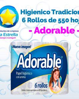 PAPEL HIGIENICO TRADICIONAL 6 ROLLOS / 550 HOJAS // ADORABLE