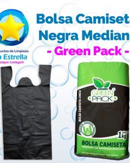 BOLSA CAMISETA NEGRA MEDIANA // GREEN PACK