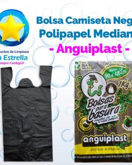 BOLSA CAMISETA NEGRA POLIPAPEL MEDIANA // ANGUIPLAST
