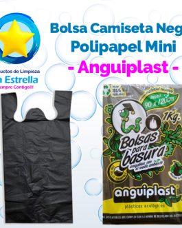BOLSA CAMISETA NEGRA POLIPAPEL MINI // ANGUIPLAST