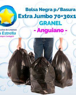 BOLSA NEGRA P/BASURA EXTRA JUMBO 70+30×150 GRANEL // ANGUIANO