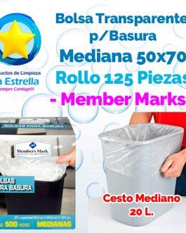 BOLSA P/BASURA TRANSPARENTE MEDIANA (37 L. – 60.9 CMS) ROLLO C/125 PZS