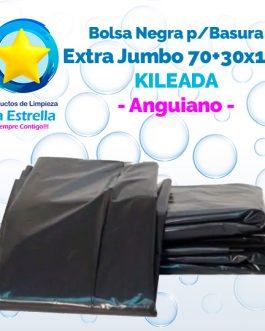 BOLSA NEGRA P/BASURA EXTRA JUMBO 70+30×150 KILEADA // ANGUIANO