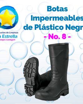 BOTAS PLASTICO NEGRO LARGAS #8 ***