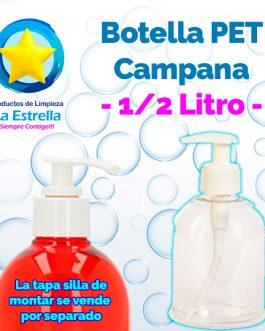 BOTELLA PET CAMPANA TRANSPARENTE 500 ML R-28/410 SIN TAPA