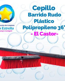 CEPILLO PLASTICO – POLIPROPILENO ROJO 36″// EL CASTOR