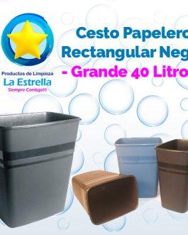 CESTO PAPELERO RECTANGULAR NEGRO GRANDE (CAP. 40 L.)