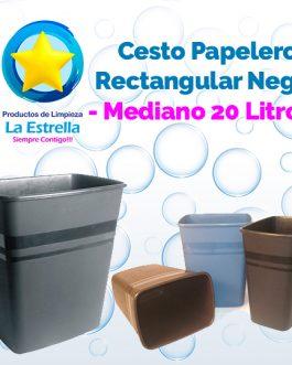 CESTO PAPELERO RECTANGULAR NEGRO MEDIANO (CAP. 20 L.)