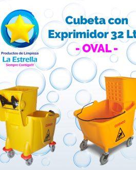 CUBETA CON EXPRIMIDOR CAP. 32 LITROS // OVAL