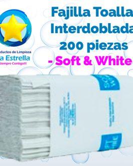 FAJILLA TOALLA INTERDOBLADA BLANCA 200 PZS // SOFT AND WHITE **PIEZA**
