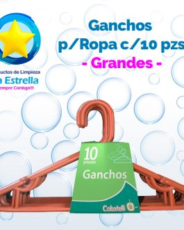 GANCHOS P/ROPA GRANDE C/10 PZS