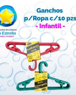 GANCHOS P/ROPA INFANTIL C/10 PZS