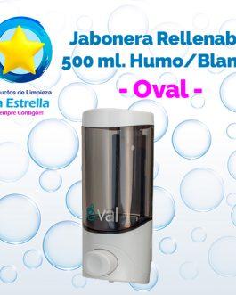 JABONERA RELLENABLE 500 ML HUMO CON BLANCO // OVAL