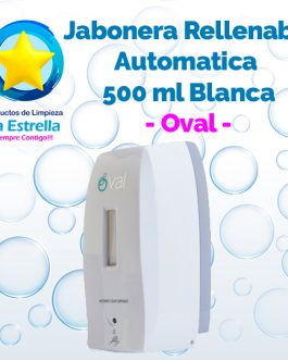 JABONERA RELLENABLE AUTOMATICA 500 ML BLANCA // OVAL