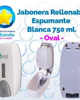 JABONERA RELLENABLE ESPUMANTE 750 ML. BLANCA // OVAL