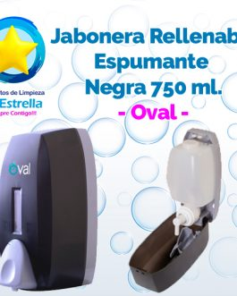 JABONERA RELLENABLE ESPUMANTE 750 ML NEGRA // OVAL