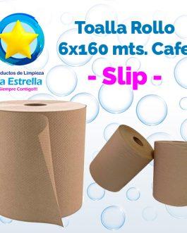 TOALLA ROLLO P/MANOS CAFE 6×160 MTS. // SLIP **CAJA**