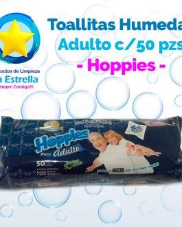 TOALLITAS HÚMEDAS ADULTO C/ALOE VERA (50 PZS) // HOPPIES